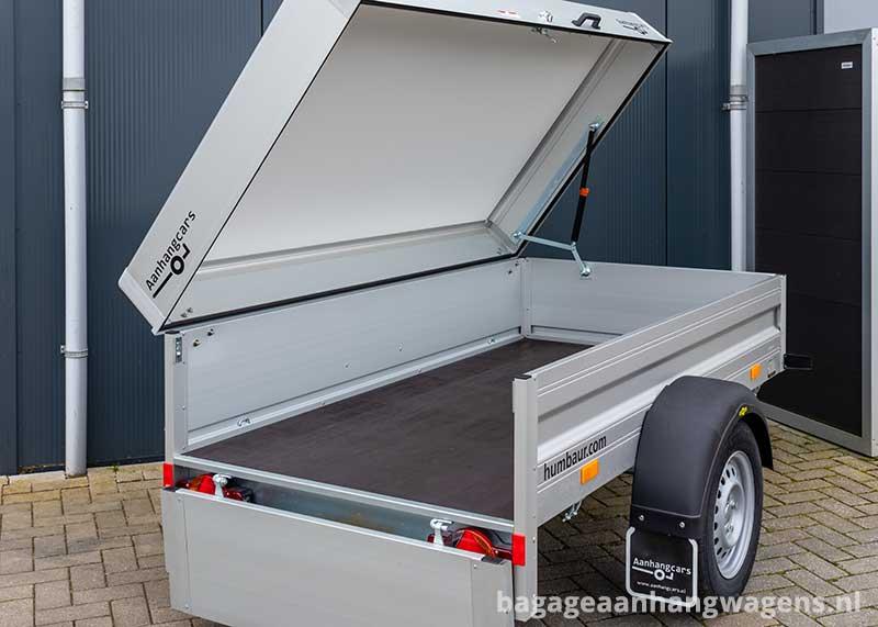 Humbaur aluminium bagagewagen met deksel